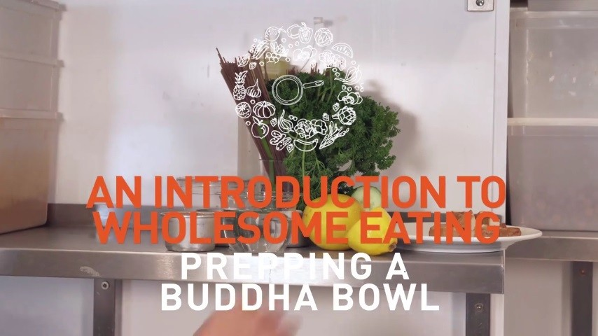 Preparing a Buddha bowl for wholesome eating